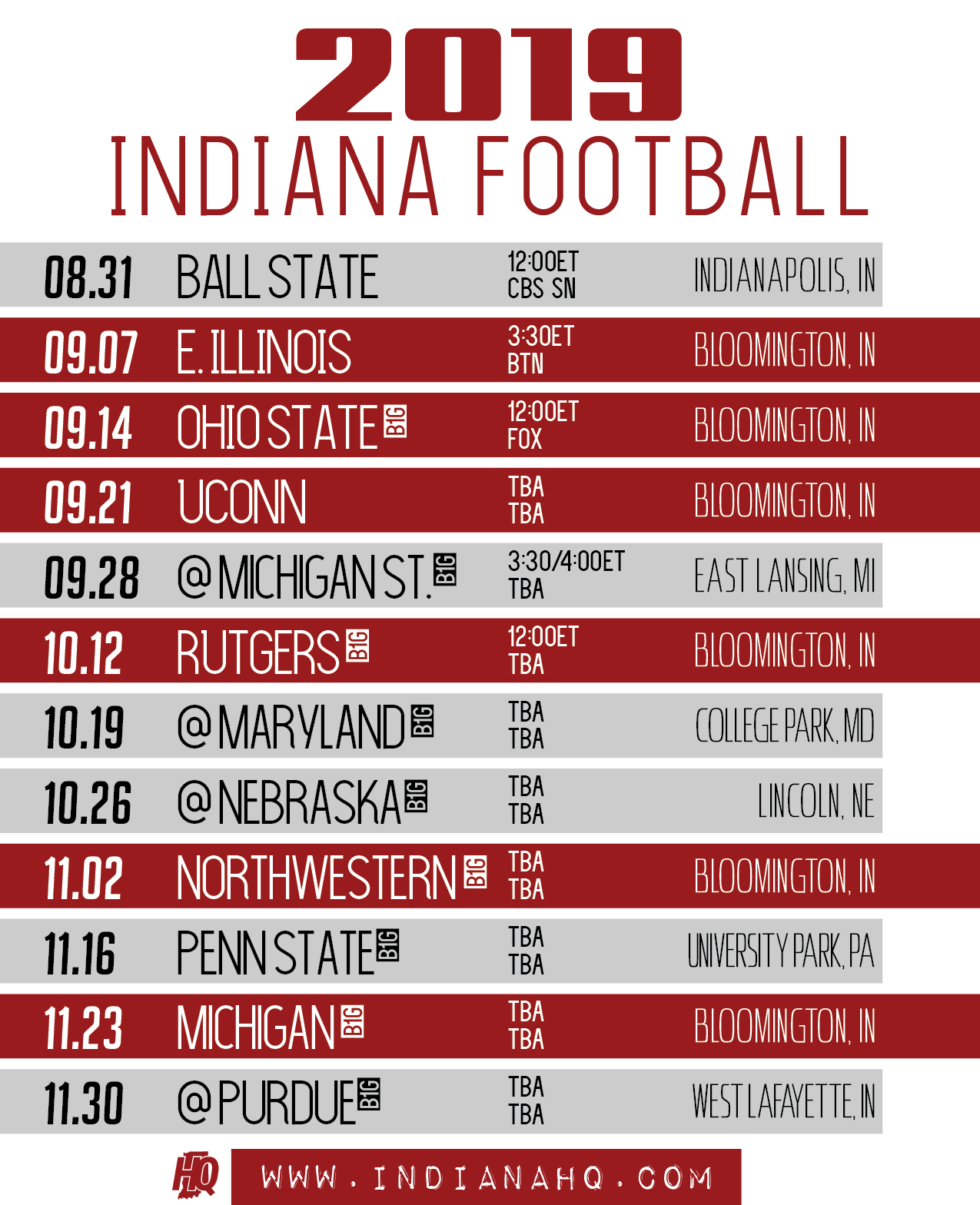 Ohio State Football Schedule 2019 2019 Indiana Football Schedule (Printable)   IndianaHQ