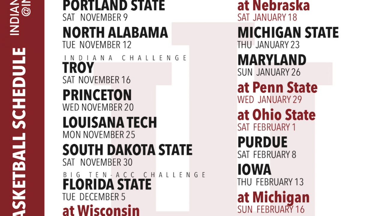 Printable Indiana Basketball 2019 2020 Schedule Free