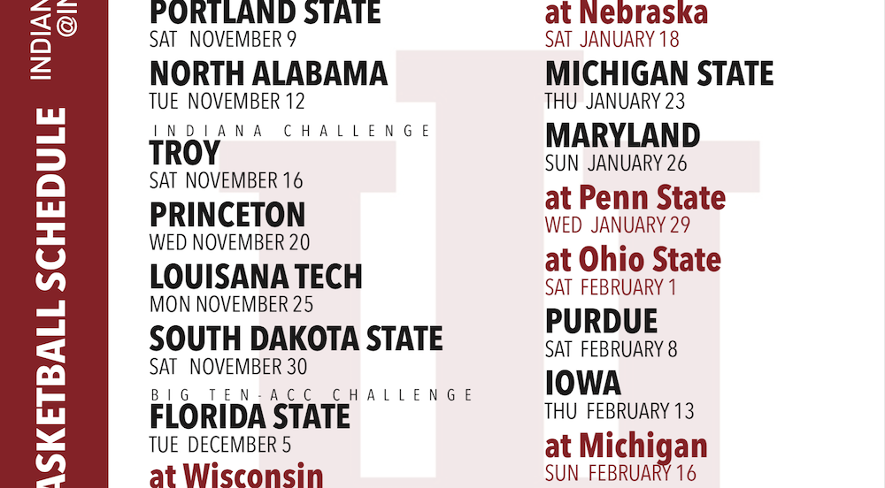 graphic regarding Printable Schedule named PRINTABLE Indiana Basketball 2019-2020 Program (Free of charge)