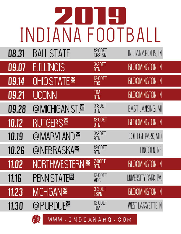 2019 Indiana Football Schedule Printable Indianahq